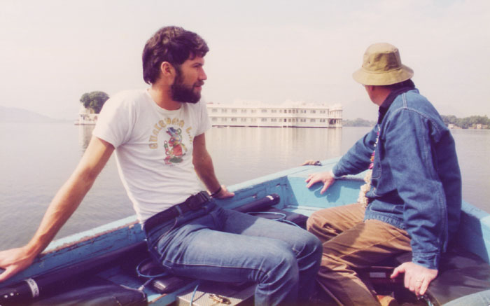 On the way to the Lake Palace, Udaipur, during Jewel in the Crown, with Producer/Director Chris Morahan